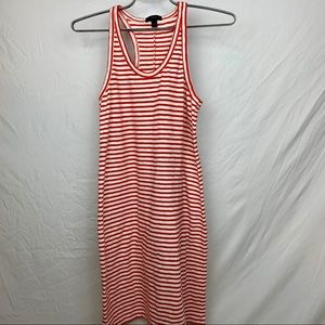 J. Crew Dresses - J.Crew red striped racer back dress, size small